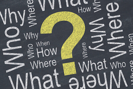"""words like """"what"""", """"who"""", """"why"""" and more surrounding a yellow question mark"""