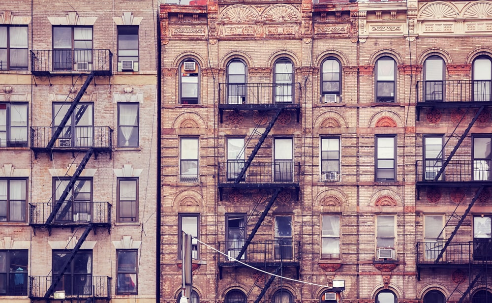 old apartment building with fire escape
