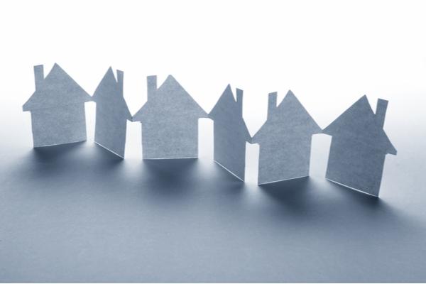 paper house-shaped cutouts