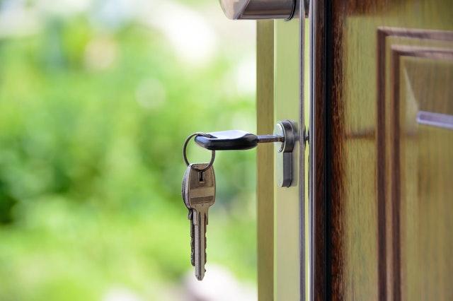 a key in a door